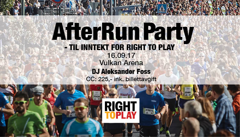 AFTERRUN PARTY – TIL INNTEKT FOR RIGHT TO PLAY